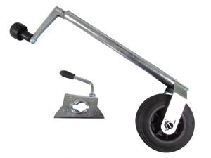 Jockey Wheel With Plastic Rim & Clamp 34MM (Trailer Caravan Guide)
