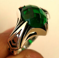 Turkish 925 Silver Emerald (lab) Stone Men's Ring Sz 9 us #1130 fr. resize