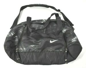 Nike Womens Auralux Print Club Bag Gym Duffel Black Gray BA5282-021 Active