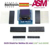 """OLED Shield for WeMos D1 mini  64X48 0.66"""" inch IIC I2C"""