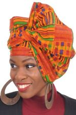 Kente African Print Head wrap with Green Trim, Tie, scarf, 100% Cotton.