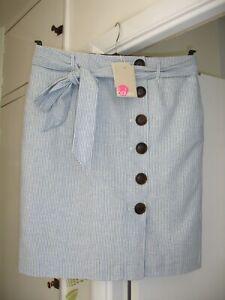 BODEN Leonora Cabin/Ivory Stripe Linen-Blend Skirt - Size 14R - BNWT