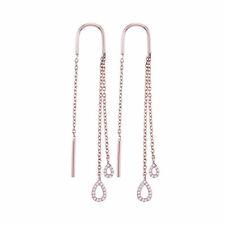 10k Rose Gold Womens Round Diamond Double Teardrop Dangle Threader Earrings 1/8