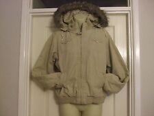 W taille 12 Manteau Femme Veste Capuche amovible Fourrure Beige Crème d'hiver femme travail