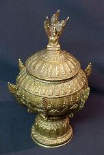 19èm Asie Siam joli pot à offrandes couvert  urne bronze 30cm1.5kg bouddha Naga