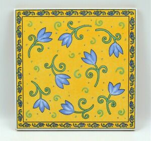 Furio Home Yellow & Blue Floral Art Pottery Terra Cotta Tile Trivet From Italy
