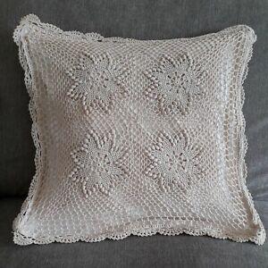 Beige Crochet Cushion Cover * 100% Cotton * Vintage Country Cottagecore