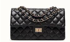 Borsa borsetta da spalla tracolla catena donna eco pelle trapuntata nera grande