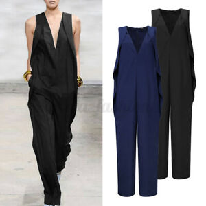 AU Womens Jumpsuits Work Ladies Office OL Playsuits Long Pants Business Overalls