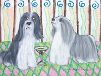 BEARDED COLLIE Drinking a Martini Outsider Pop Vintage Art 8 x 10 Signed Print