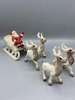Vintage 1960's  Holland Mold Santa Sleigh And 4 Reindeer-Mid Century