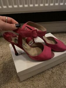Manolo Blahnik Pink Canvas Strappy Sandals Heels Size 39 6