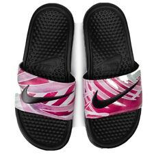 Nike Benassi JDI PRINT Slides-Sandals Black/Fuchsia Women's Sizes  [618919-030]