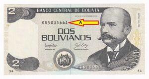 Bolivia 2 Bolivianos 1986 1987 Series A P# 202a UNC (33438)