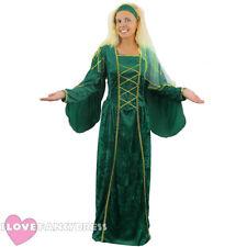 GREEN TUDOR QUEEN COSTUME MEDIEVAL HISTORICAL PRINCESS FANCY DRESS RENAISSANCE