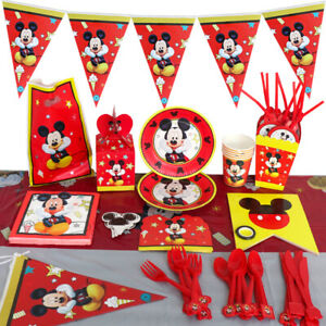 Red Mickey Mouse Kids Birthday Party Supplies Tableware Plates Banner Balloons.