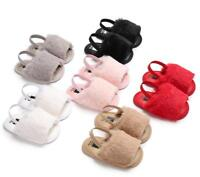 Newborn Infant Baby Girl Crib Shoes Toddler Faux Fur Summer Sandals 3 6 9 12 18M