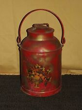 "VINTAGE 17"" HIGH RED FLOWER METAL MILK PAIL"