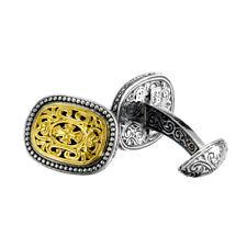 Gerochristo P7100N ~ Sterling & Gold Plated Silver Medieval Cross Cufflinks