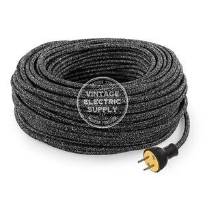 Black Linen Cordset - Cloth Covered Round Rewire Set - Antique Lamp & Fan Cord