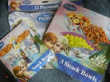 Frozen Birthday Party Table Serve Decorations Bowls Snack Boxes Placemats Disney