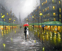 100%HAND-PAINTED ART ACRYLIC OIL PAINTING London Cityscape Figure 16x20 INCH