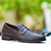 Dress Shoes Brown Penny Handmade Men Woven Casual Calf Leather