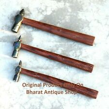 Set of 3 Black Iron Hammer Blacksmith Wooden Handle Collectible Tool