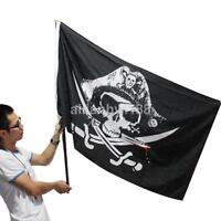 Skull And Cross Crossbones Sabres Swords Jolly Roger Pirate Flag Haunted Deco AU