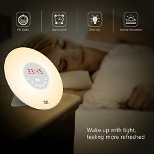 LED Natural Wake-Up Light Sunrise Simulation Alarm Clock FM Radio Night Lamp NE