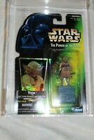 STAR WARS POTF2 YODA Power Of The Force Green Card 1997 AFA U85