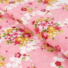 Japanese metallic gold embossed sakura pink fabric cotton fat quarter FQ F0074