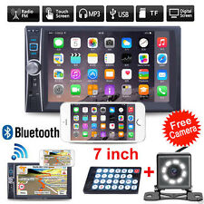 "7"" HD Touch Bluetooth Car Stereo GPS 2 DIN Audio MP3 MP5 Player Radio FM +Camera"