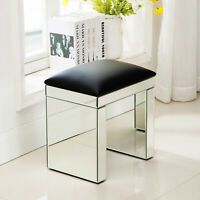 Makeup Vanity Stool Mirrored Glass Cushioned Chair Padded Piano Seat Silver
