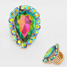 LUSH BIG Gold Vibrant Vitrail Crystal STRETCH Cocktail Ring By Rocks Boutique