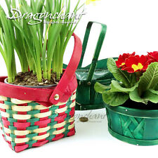 CLEARANCE! Wooden Flower Bulb Bowl Basket with Handle Planter Pot