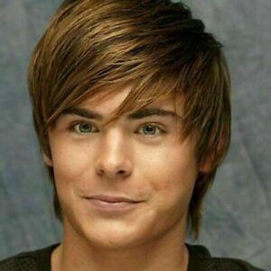 100% Human Hair!Men Casual Light Brown Human Hair Wig Fashion Toupee