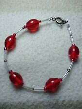 """Red beaded bracelet with metal clasp (8"""" / 20cm)"""