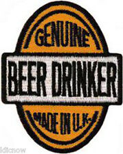 "GENUINE BEER DRINKER MADE IN THE U.K EMBROIDERED PATCH 5.5cm X 7cm (2"" X 2 3/4"")"