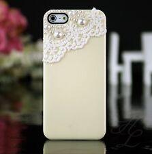 Apple iPhone 5 5s Hard Case Handy Schutz Hülle Etui Bumper Perlen 3D Creme