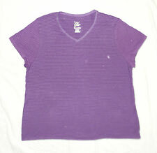 Just My Size Plus JMS Cotton Striped Jersey VNeck Tee 3X Bright Violet NEW