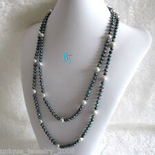 """Pearl Necklace Strands Jewelry 55"""" 5-9mm Peacock Gray Freshwater"""