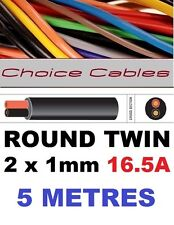 ROUND TWIN AUTO CABLE 2 CORE 1.0mm 16.5 AMP CAR BOAT LOOM WIRE, MARINE CABLE 5m