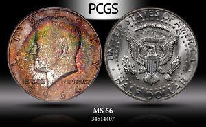 1964-P SILVER KENNEDY HALF DOLLAR PCGS MS66 BEAUTIFULLY TONED