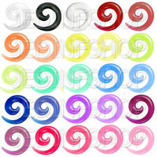 Ear Taper Lobe Stretcher - Spiral Snail   1.6mm-10mm   23 Colours Acrylic Pairs