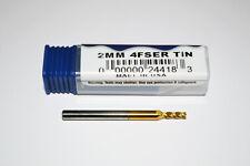 2mm Carburo Fine Mulino SLOT DRILL FRESA - 4 Flauto (TiN)