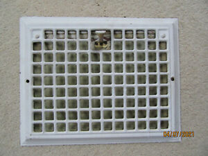 Antique Stamped Steel Heat Register Vent Grate with Louver 14.25 x 11.25