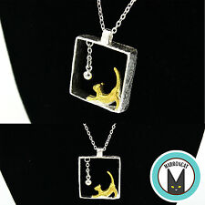925 Sterling Silver Cat Bell 3D Designer Necklace Pendant Novelty Gift Cute Fun