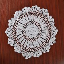 4Pcs/Lot White Vintage Hand Crochet Lace Doilies Round Placemats Cotton 15inch