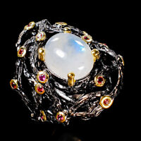 Fine Art Jewelry Natural Moonstone 925 Sterling Silver Ring Size 8/R122442